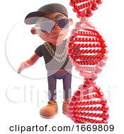 3d Cartoon Hiphop Rapper Looking At A Genetic Dna Strand 3d Illustration