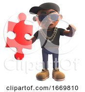 Poster, Art Print Of 3d Cartoon Black Hiphop Rapper Character In Baseball Cap Holding A Piece Of A Jigsaw Puzzle 3d Illustration
