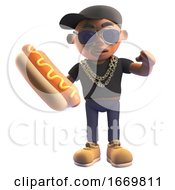 Cartoon 3d Black Hiphop Rapper Eating A Hotdog 3d Illustration