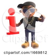 3d Cartoon Black Hiphop Rapper In Baseball Cap Holding A Red Information Symbol 3d Illustration