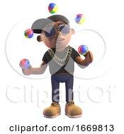 3d Cartoon Black Hiphop Rapper Character Juggling With Juggling Balls 3d Illustration
