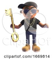3d Black Cartoon Hiphop Rapper Character Holding A Gold Key 3d Illustration