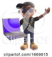 3d Black Hiphop Rapper Character In Baseball Cap Holding A Laptop Computer 3d Illustration
