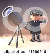 3d Cartoon Policeman Character In Police Uniform Next To A Surveillance Telescope 3d Illustration