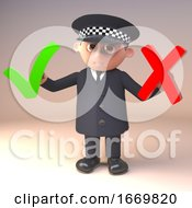 Poster, Art Print Of Cartoon 3d Policeman Character In Police Uniform Holding A Tick And A Cross Symbol 3d Illustration