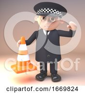 Funny 3d Cartoon Policeman Character In Police Uniform Holding A Traffic Cone 3d Illustration