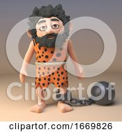 Poster, Art Print Of 3d Cartoon Caveman Character Wearing A Ball And Chain 3d Illustration