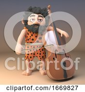 3d Funny Cartoon Caveman Character Playing The Cello 3d Illustration