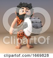 Poster, Art Print Of 3d Funny Cartoon Caveman Character Playing The Bass Drum 3d Illustration