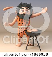 Poster, Art Print Of 3d Funny Primitive Caveman Character Cooking On A Barbecue Bbq 3d Illustration