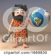 Poster, Art Print Of Prehistoric 3d Cartoon Caveman Character Holding A Globe Of The Earth 3d Illustration