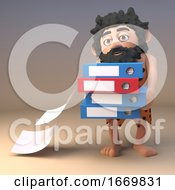 Stupid Prehistoric 3d Caveman Character Drops Files From His Folders That He Is Carrying 3d Illustration