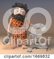 Funny 3d Prehistoric Caveman Character Carves UK Pounds Sterling Currency Symbol In Rock 3d Illustration