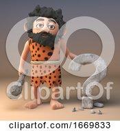 Dumb 3d Prehistoric Caveman Character Carves A Question Mark Symbol In Rock 3d Illustration