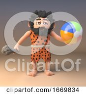 3d Funny Cartoon Caveman Character With A Club And Beach Ball 3d Illustration