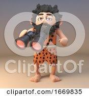 3d Funny Cartoon Caveman Character Using A Pair Of Binoculars 3d Illustration
