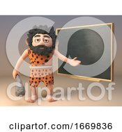 Poster, Art Print Of Funny 3d Caveman Character Teaching At The Blackboard 3d Illustration