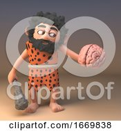 3d Silly Caveman Character Holding A Club And A Human Brain 3d Illustration