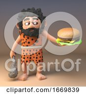 3d Silly Caveman Character Holding A Club And A Cheeseburger 3d Illustration