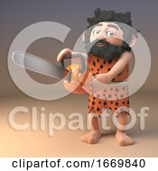 Poster, Art Print Of 3d Savage Stone Age Caveman In Animal Pelt Holding A Chainsaw 3d Illustration