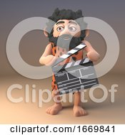 Cartoon 3d Prehistoric Caveman Character In Animal Pelt Using A Movie Makers Film Slate 3d Illustration