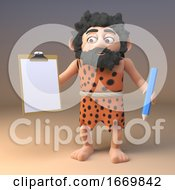 Poster, Art Print Of Funny 3d Cartoon Prehistoric Caveman Character From The Stone Age Holding A Clipboard And Pencil 3d Illustration