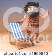 3d Cartoon Prehistoric Caveman Character Standing By A Deck Chair For Sunbathing 3d Illustration
