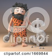 3d Cartoon Prehistoric Caveman Character Carves A US Dollar Currency Symbol In Rock 3d Illustration