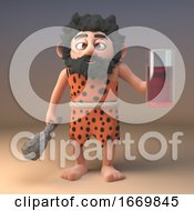 Thirsty 3d Cartoon Prehistoric Caveman Character Holding A Glass Of Fruit Juice And A Club 3d Illustration