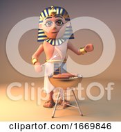 3d Cleopatra Tutankhamun Egyptian Character Cooking On A Gold Barbecue Bbq 3d Illustration