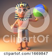 3d Cleopatra Tutankhamun Egyptian Cartoon Character Drinking And Playing With A Beach Ball 3d Illustration