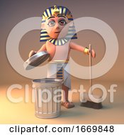 3d Egyptian Cleopatra Tutankhamun Cartoon Character Cleaning With A Broom And Rubbish Bin 3d Illustration