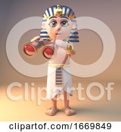 3d Cartoon Tutankhamun Cleopatra Character Using A Pair Of Gold Binoculars 3d Illustration