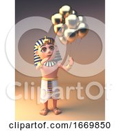 Cartoon 3d Egyptian Tutankhamun Cleopatra Character With Gold Balloons 3d Illustration