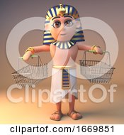 Egyptian 3d Cartoon Cleopatra Tutankhamun Character With Empty Shopping Baskets 3d Illustration