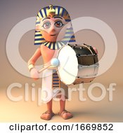 3d Egyptian Cartoon Cleopatra Tutankhamun Character Playing A Bass Drum 3d Illustration