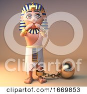 3d Cartoon Cleopatra Tutankhamun Egyptian Character With Ball And Chain 3d Illustration