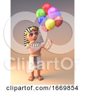 3d Egyptian Cleopatra Tutankhamun Character Holding Party Balloons 3d Illustration