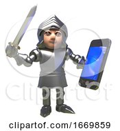 3d Knight In Shining Armour Holding A Smartphone And Waving His Sword 3d Illustration