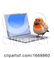 Poster, Art Print Of 3d Robin On A Laptop