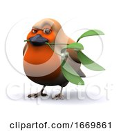 Poster, Art Print Of 3d Robin Holds Some Mistletoe In His Beak