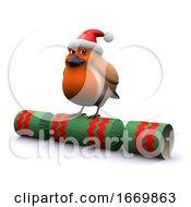 Poster, Art Print Of 3d Christmas Robin Sits On A Xmas Cracker