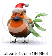 Poster, Art Print Of 3d Cheeky Santa Robin With Mistletoe