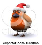 Poster, Art Print Of 3d Robin Wears A Santa Claus Hat