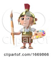 Poster, Art Print Of 3d Roman Soldier Likes To Paint