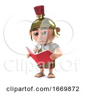 3d Roman Soldier Reading A Book