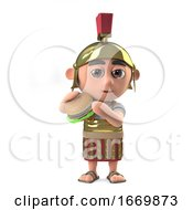 3d Roman Soldier Eating A Beef Burger