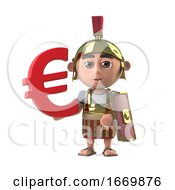3d Roman Centurion Has A Euro Currency Symbol