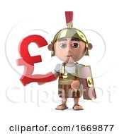 3d Roman Centurion Has UK Pounds Sterling Currency Symbol