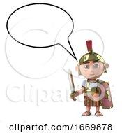 3d Roman Centurion With A Blank Speech Bubble